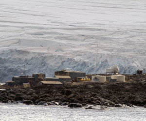 Palmer Station, with the glacier behind it. (Photo by Byron Pedler, WHOI)