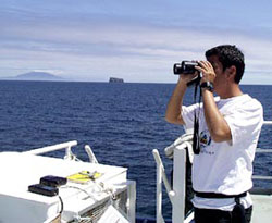 Since joining the Revelle at Puerto Ayora, Francisco has spent much of his time doing the seabird study from the fore deck.