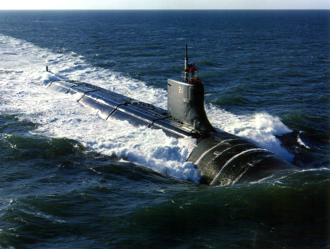 The U.S. submarine Seawolf (SSN 21) puts to sea in the Narragansett Bay operating area for her first at-sea trial operations. U.S. Navy photo courtesy of General Dynamics.
