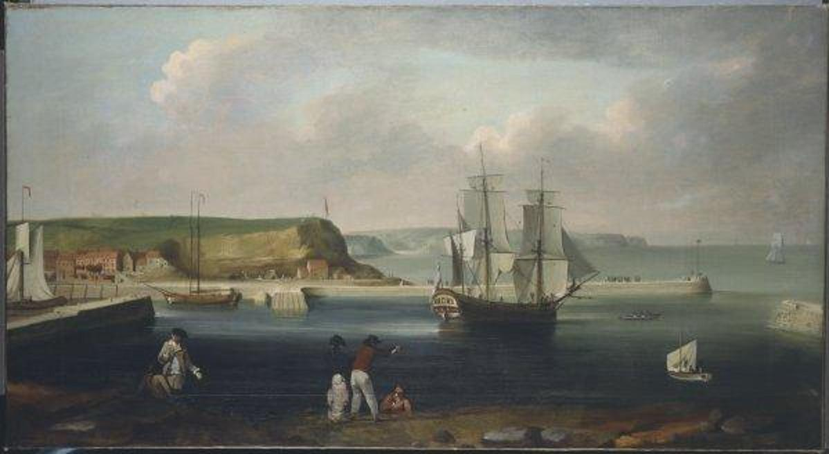 Painting of the Earl of Pembroke, later HMS Endeavour, leaving Whitby Harbour in 1768.