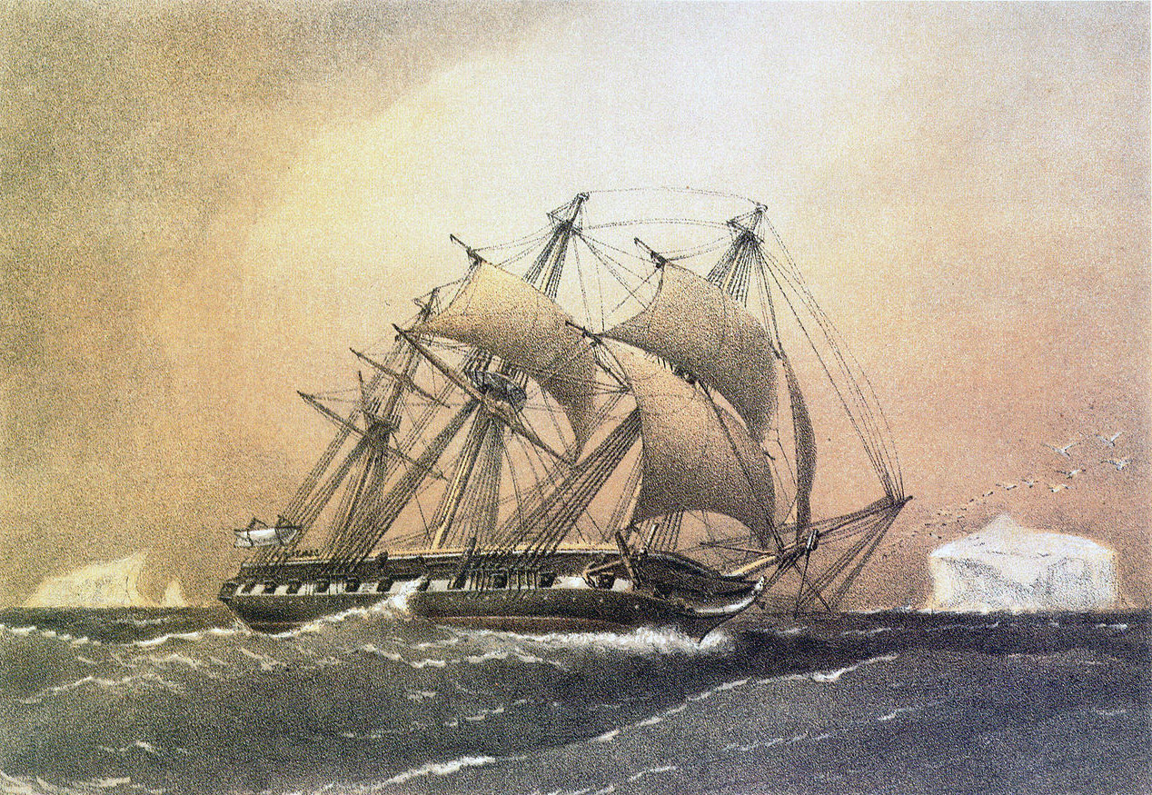 Painting of the HMS Challenger by William Frederick Mitchell originally published for the Royal Navy.