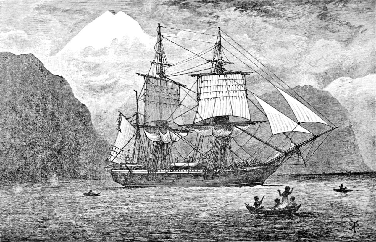 """A drawing of the HMS Beagle. Taken from Darwin's book """"The Voyage of the Beagle."""""""