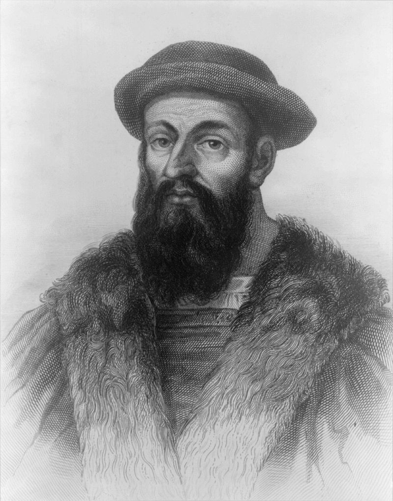Painting of Ferdinand Magellan, the Portuguese navigator. Magellan was the first European explorer to cross the Pacific Ocean and the first to sail around the world. The painting is in the Palazzo Farnese in Caprarola, Italy. (Public Domain)