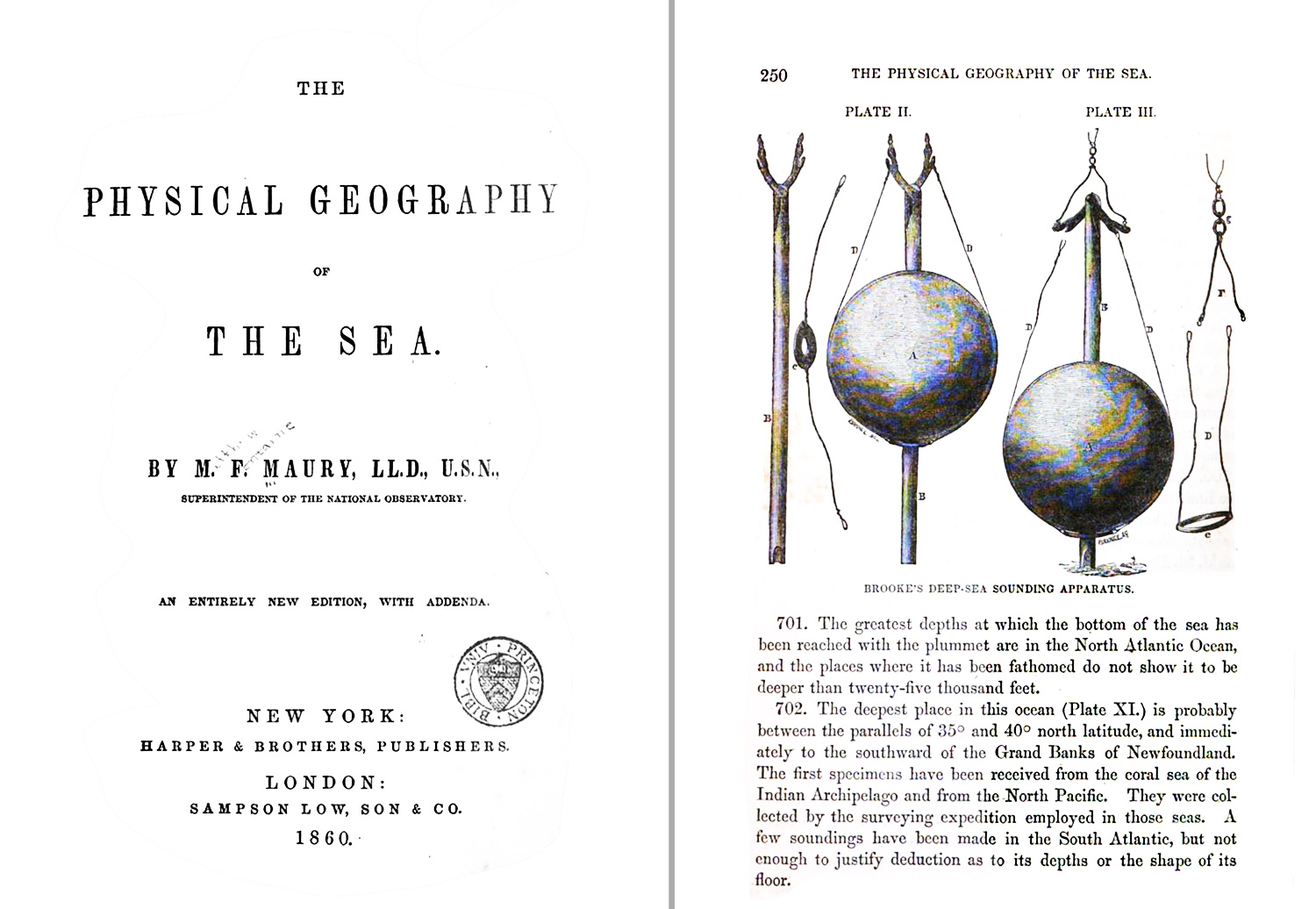 """In 1855, Matthew Maury published """"The Physical Geography of the Sea,"""" which is now credited as """"the first textbook of modern oceanography."""" The devices on the right hand side of the page are sounding instruments to measure the depth of the ocean."""