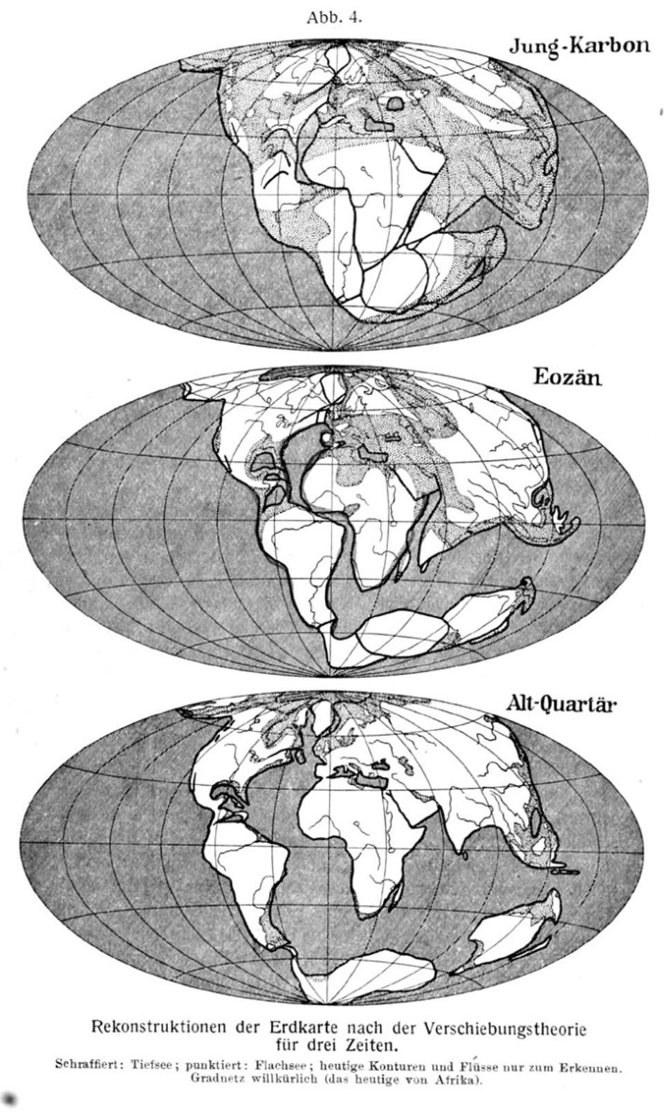 Reconstruction of the map of the world according to drift theory for three epochs, the upper one is the upper Carboniferous, the middle one is for the Eocene, and the lower one is for the Lower Quaternary. The dotted areas on the continents are areas where shallow seas existed during those time periods. This figure appears as Figure 4 in Wegener's book.
