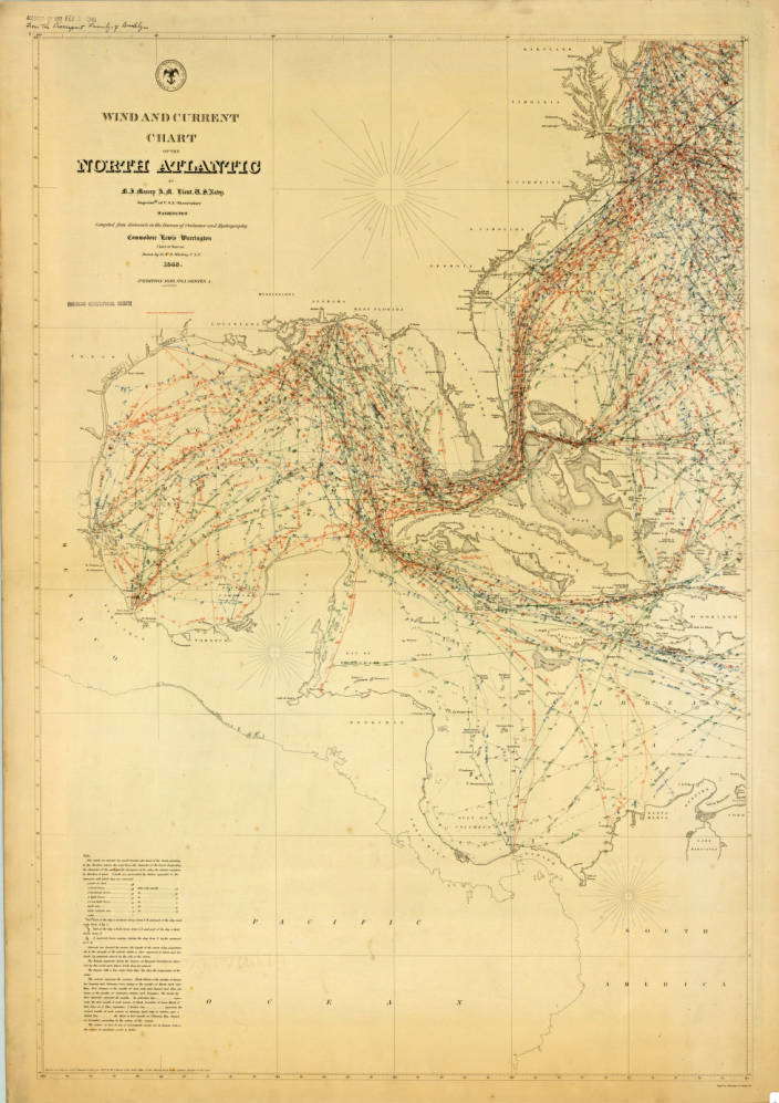 In 1847 Maury published a series of charts called Wind and Current Charts. Above is a part of one of the charts.