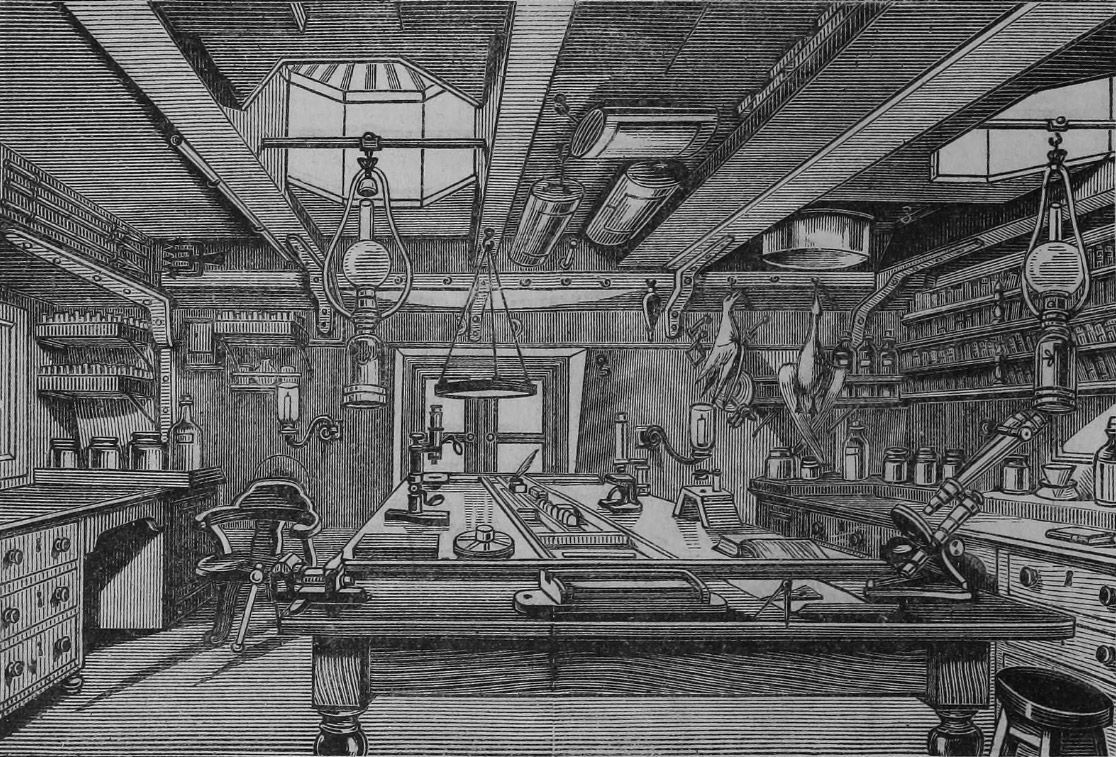 The chemical laboratory on board HMS Challenger.