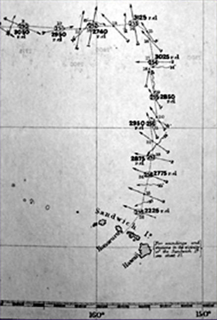 The plot of the track of the Challenger on its voyage north of the Hawaiian Islands showing the prevailing winds and currents.