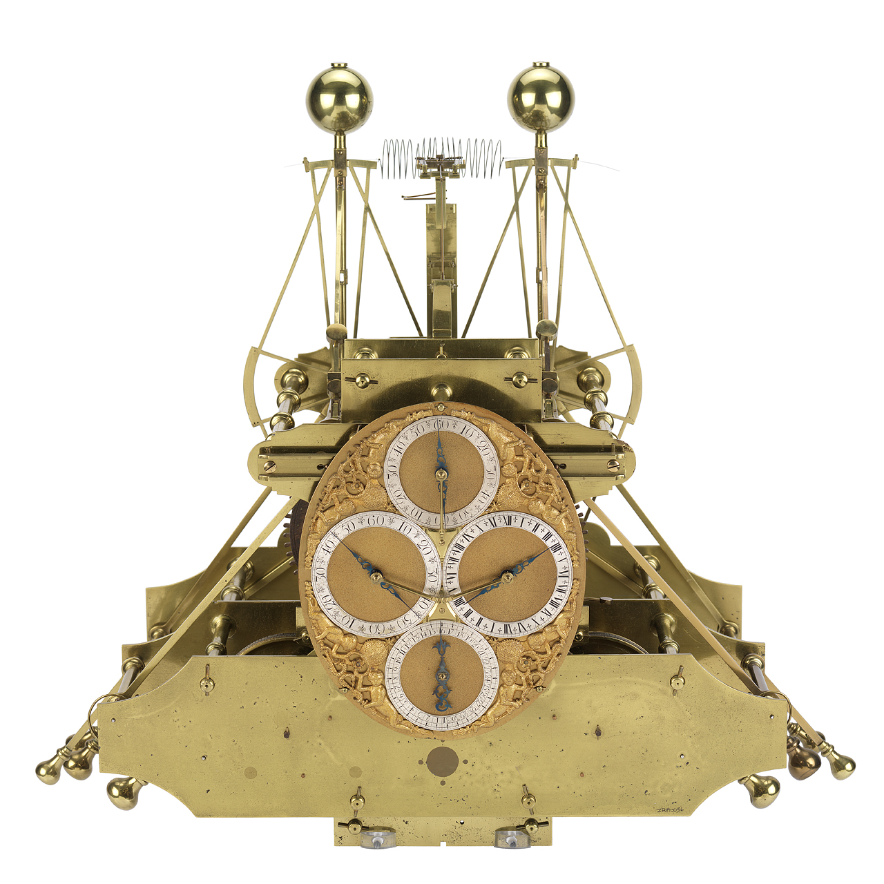 H1 was built between 1730 - 1735 by John Harrison and is essentially, a portable version of Harrison's precision wooden clocks. It is spring-driven and only runs for one day (the wooden clocks run for eight days). All of the moving parts are counterbalanced and controlled by springs so that, unlike a pendulum clock, H1 is independent of the direction of gravity. The linked balance mechanism also ensures that any change in motion which affects one of the balances is compensated for by the same effect on the other balance.