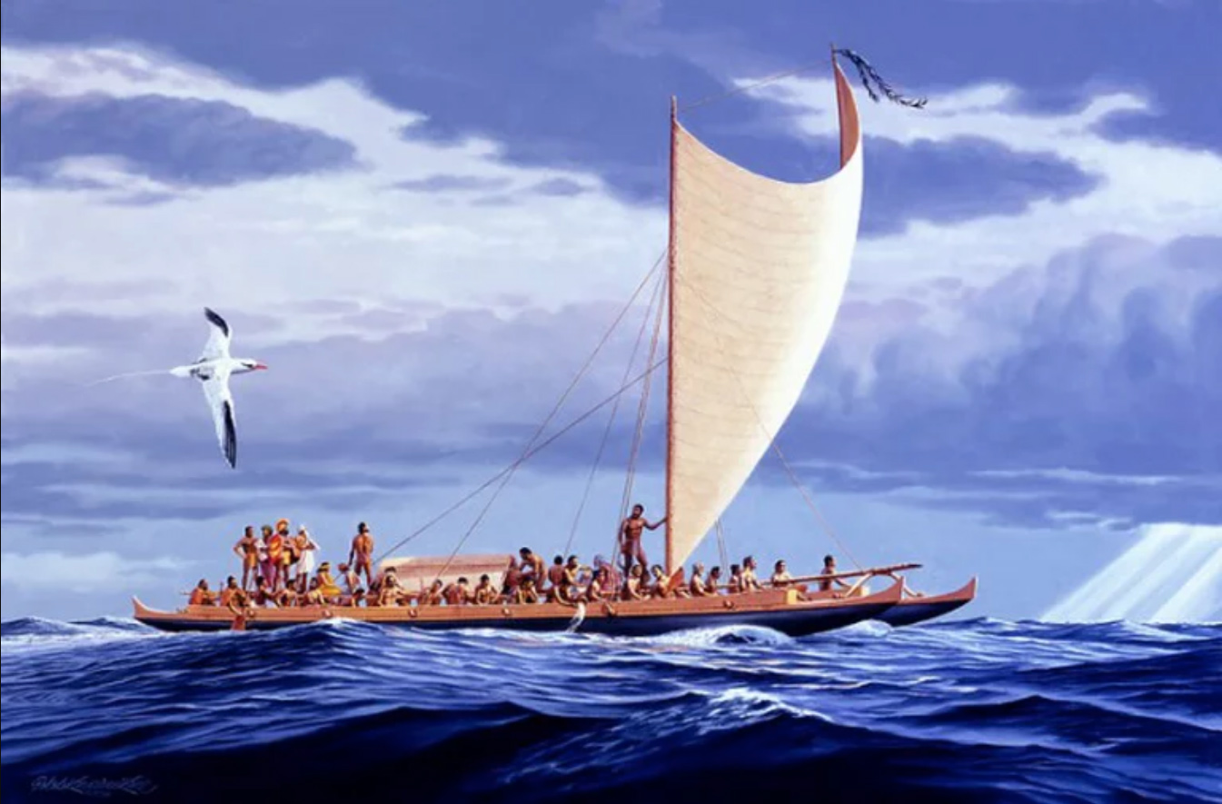 Painting of Hokule'a, a traditional Polynesian canoe by artist Greg Taylor of the Honolulu Advertiser (with permission).