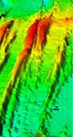 3-D image of the Endeavour segment. It shows that it is basically a very long, linear volcano that has been split in half by spreading. The plate boundary between the Juan de Fuca Plate and the Pacific Plate is defined by the axial valley between the two ridge highs.