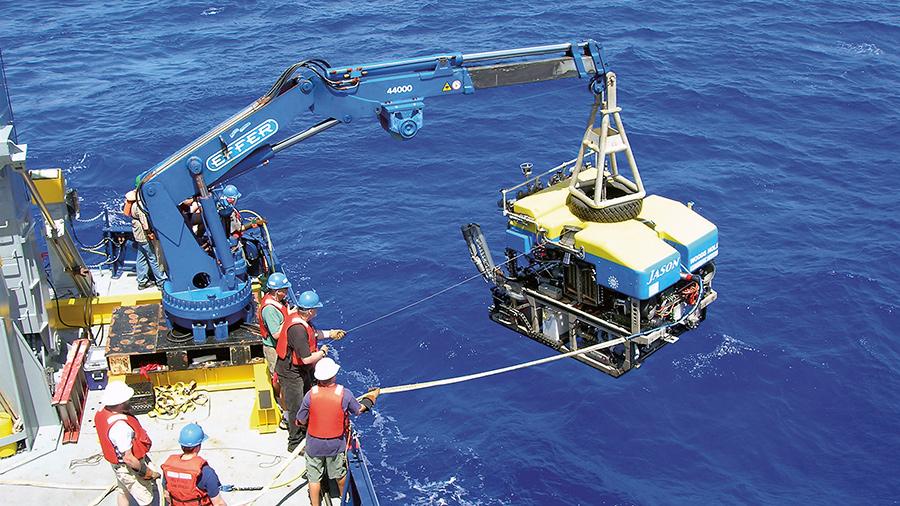 ROV <em>Jason</em> being launched.