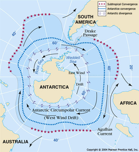 The path of the Antarctic Circumpolar Current