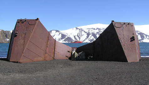 Half-buried remains of human occupation on volcanic Deception Island