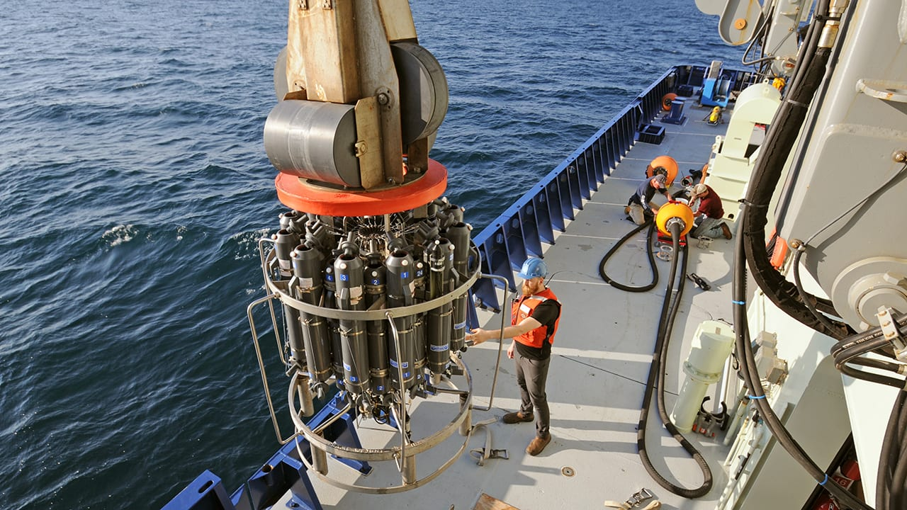 A CTD rosette, shown here, is a mainstay of oceanographic research. CTD stands for conductivity (which provides a measure of salinity), temperature, and depth. Photo by Véronique LaCapra, ©Woods Hole Oceanographic Institution
