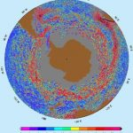 The speed of the Antarctic Circumpolar Current around Antarctic ranges from about 10 cm/sec or 0.2 knots (blue colors) to 100 cm/sec (purple colors) or 2 knots, with an average of 50 cm/sec or 1 knot (red color).
