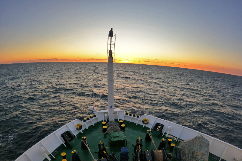 A view of sunset from the bow of the Sarmiento de Gamboa on our first day at sea. Photo by Marley Parker, @Woods Hole Oceanographic Institution