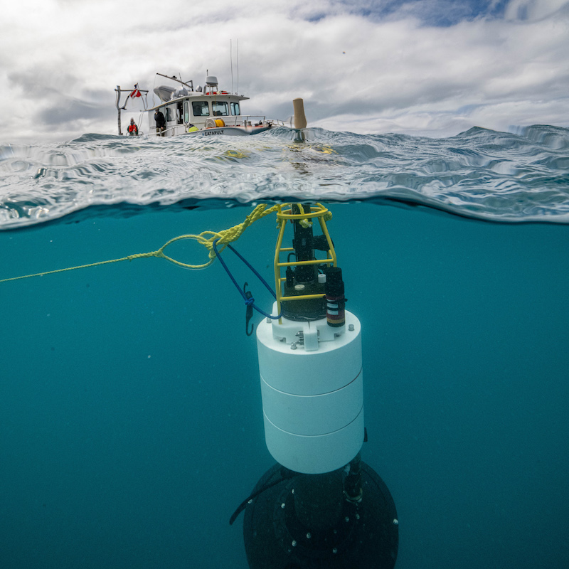 The Twilight Zone Explorer, or TZEx, deployed from a research vessel. Photo by Evan Kovacs, ©Woods Hole Oceanographic Insitution