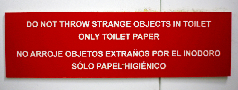 """Signage aboard the R/V Sarmiento de Gamboa reminds English-speaking passengers to refrain from throwing """"strange"""" objects in the toilet. Photo by Marley Parker, @Woods Hole Oceanographic Institution"""