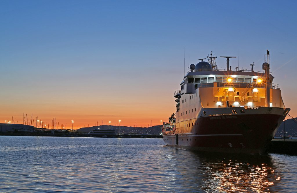 The R/V Sarmiento de Gamboa lights up the port while docked in Vigo, Spain.