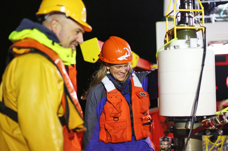 Jessica Kozik smiles after a successful TZEx deployment and recovery. Photo by Marley Parker, @Woods Hole Oceanographic Institution