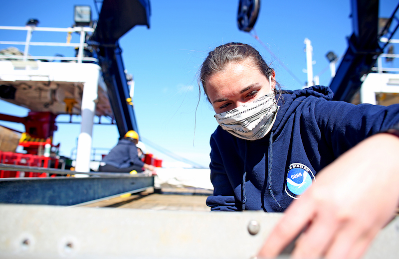 Helena McMonagle on deck of the Sarmiento de Gamboa. Photo by Marley Parker, @Woods Hole Oceanographic Institution